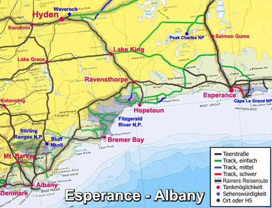 Mud-Map: Esperance - Albany